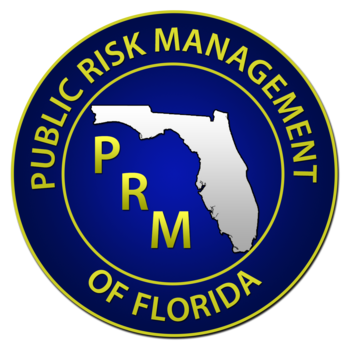 The Public Risk Management logo. The words 'Public Risk Management of Florida' circle around the State of Florida outline and the letters 'PRM.'
