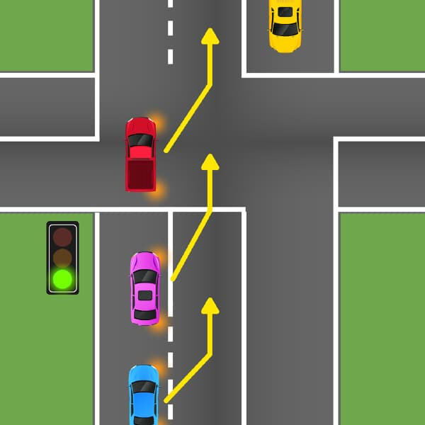 diagram of cars changing lanes